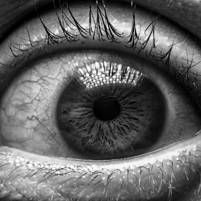 I Can´t See You by Gabriel Fox - Black & White Macro ( macro, iris, cornea, portrait, magnify, look, eyes, pupil, eye, contrast, detail, scary, creepy, human,  )