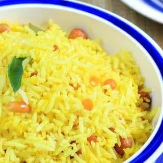 Mango Rice with Cucumber Mint Raita.