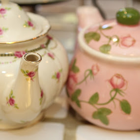 Tea Pots by Rohan Jackson - Artistic Objects Cups, Plates & Utensils ( pink white tea pots )