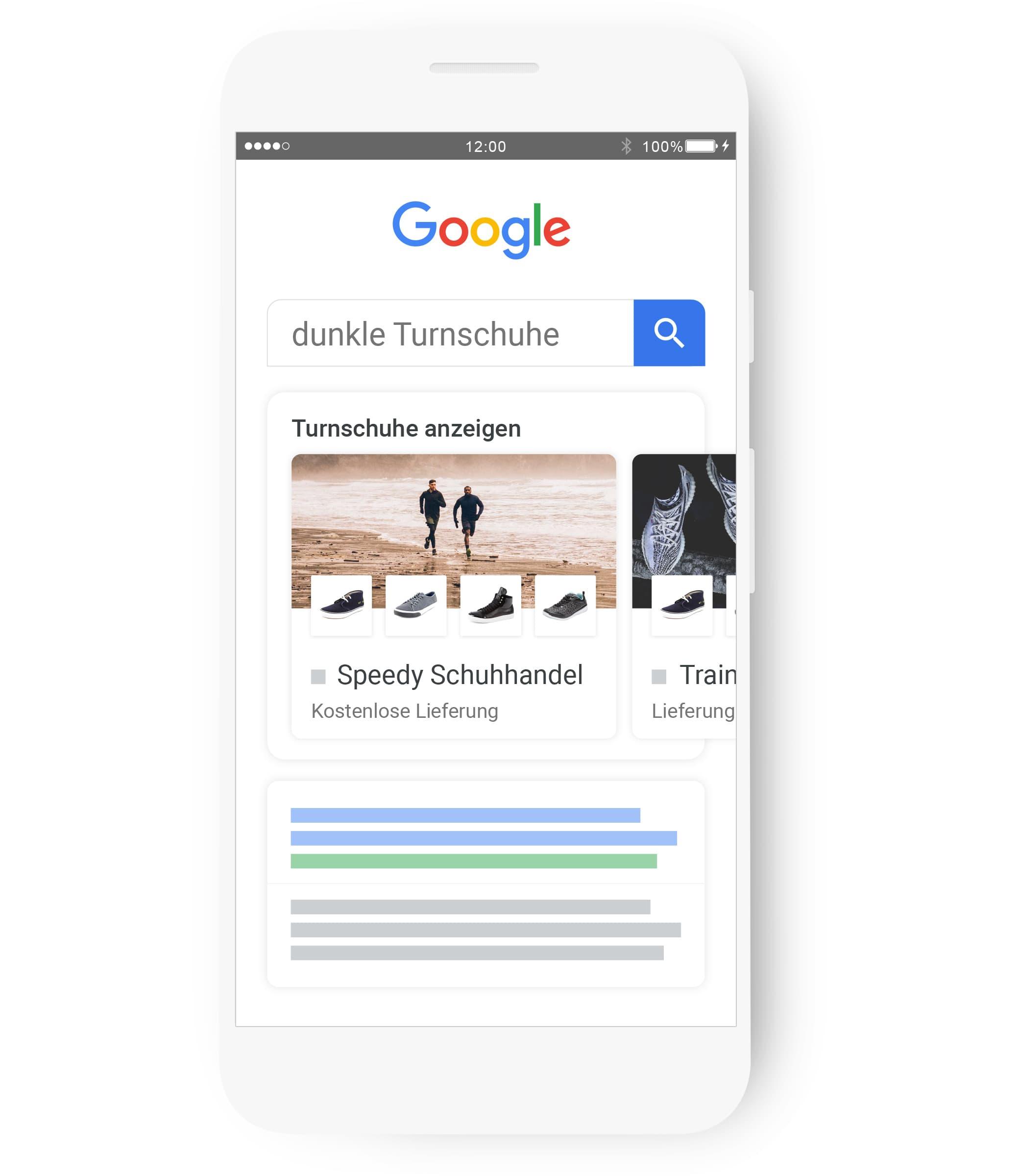 """Bei einer Google-Suche nach """"turnschuhe"""" wird eine relevante Shopping-Anzeige präsentiert."""