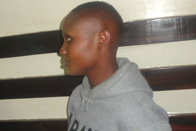 Eunice Njeri in Kibera courts where she is charged with robbery with violence