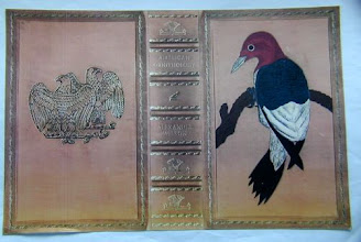 Photo: Leather-bound cover of Alexander Wilson's American Ornithology, featuring the Red-headed Woodpecker