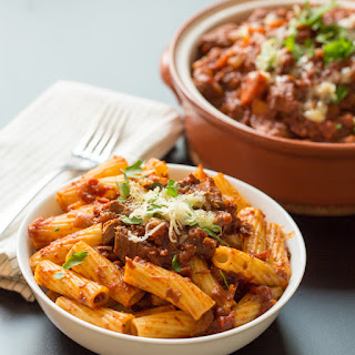 Slow Cooked Beef Ragu with Rigatoni