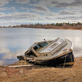 Abandoned and Forgotten by Lena Arkell - Transportation Boats ( spring, atlantic, ocean, canada, nova scotia, abandoned, water, boat,  )