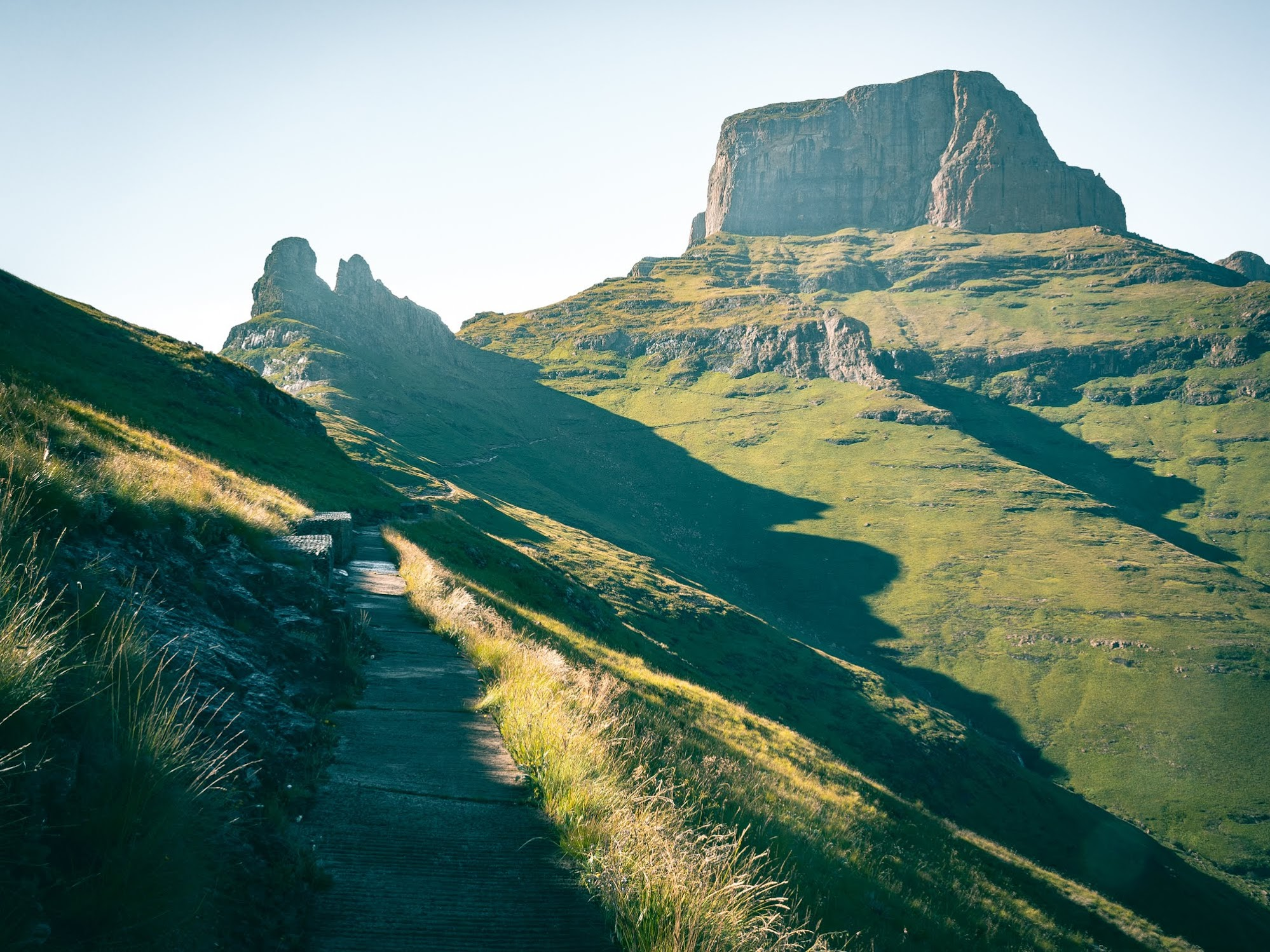 Morning shadows at the beginning of the Drakensberg hike.