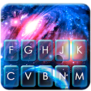 Neon Space Galaxy Keyboard Theme