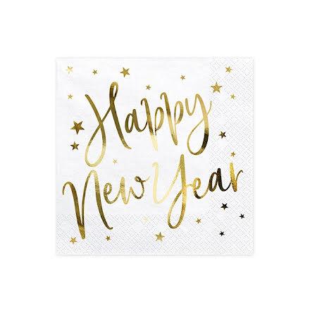 Servetter - Happy new year, vit