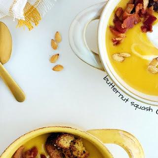 Butternut Squash Apple Soup with Cornbread Croutons, Bacon + Crème Fraîche
