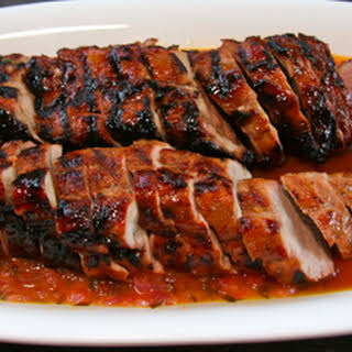 Guava-glazed Grilled Pork Tenderloin with Habañero Orange Mojo.