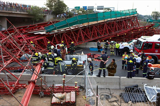 File photo of the collapsed bridge on Grayston Drive, Sandton.