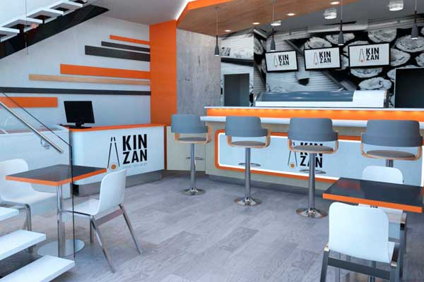 render interiorismo local sushi Kinzan
