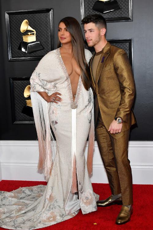 Priyanka Chopra Jonas pictured with her husband, Nick Jonas, at the 2020 Grammys.