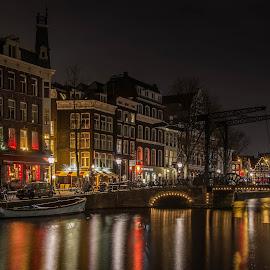 Amsterdam City  by Marcel Eringaard - City,  Street & Park  Night ( night photography, night lights, holland, d7100, the netherlands, night, amsterdam, nacht, nikon, night shot, nightscapes, nightscape,  )