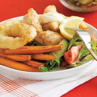 Fried Seafood Platter with Aioli.