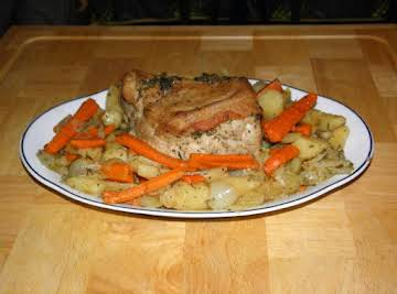 Casserole Roasted Pork with Potatoes, Carrots & Onions