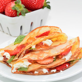 Strawberry Crepes with Goat Cheese and Basil.