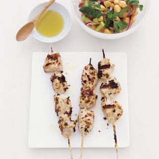 Chicken Kebabs with Chickpea Salad.