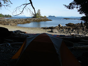 Photo: A cruise ship passes my campsite on Clarence Strait.