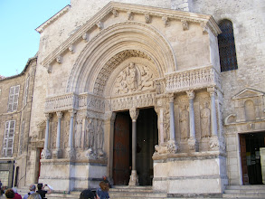 Photo: Also on the square is St-Trophime Church, named after the first (3rd century) bishop of Arles. The 12th century west portal facade here contains some of the finest examples of Romanesque religious sculpture, including Biblical scenes (e.g., the Last Judgment on the semi-circular tympanum) and images of various saints.