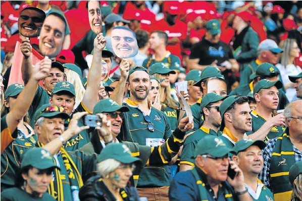 Fans cheer for the Springboks at the Test played at the Nelson Mandela Bay Stadium