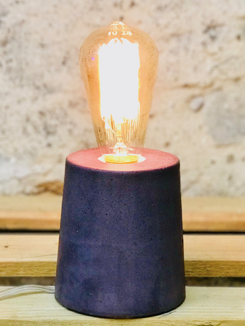 lampe béton couleur violet forme design cylindre
