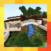Modern House in the Mountain. Map for MCPE