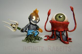 "Photo: Kid Triton. Custom 3"" 'Bot and Dr. Squidclops. Custom 3"" Mini-Mugg"