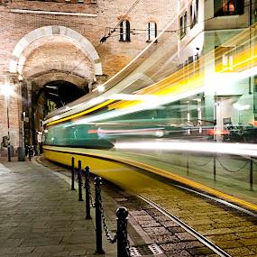 Il solito tram tram by Federica Violin - Transportation Trains ( milan, street, tram, night, city )