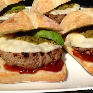 Pesto Provolone Burgers Italiano with Balsamic Ketchup.