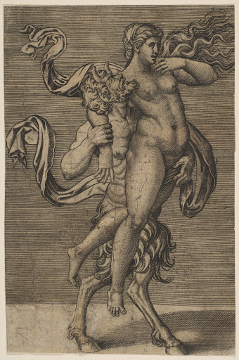 Satyr carrying a nymph restraining her right arm