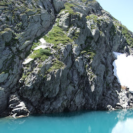 Lago Ritom, Ticino, Switzerland by Serguei Ouklonski - Nature Up Close Water ( mountain, no person, tranquil scene, rock, travel, landscape, nature landscape, geology, sky, nature, no people, snow, mountain peak, switzerland, rock formation, water, ticino, scenics, lake, beauty in nature, scenic, glacier, rock - object, turquoise, outdoors, tranquility, day, daylight )