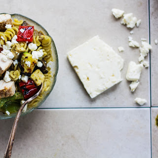 Grilled Vegetable Pasta Salad with Pesto & Chicken Recipe
