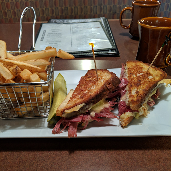 Corned beef Reuben sandwich.  I don't know why the picture is sideways because that's not how I took it!