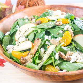 Fall Apple Mandarin Orange Spinach Salad with Mandarin-Poppyseed Dressing.