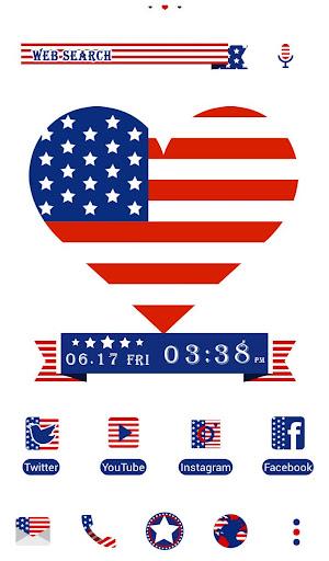 USA Flag Heart 壁紙きせかえ