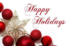 Happy Holidays sign with  red Christmas balsl and gold star