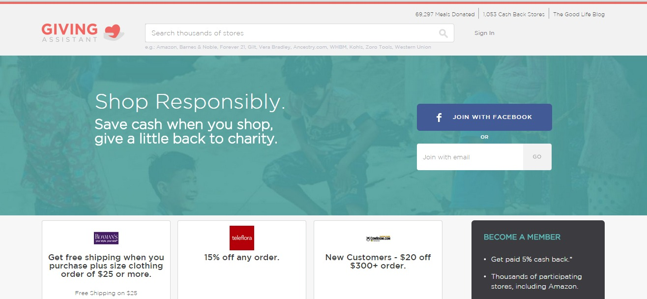 Shopping with Giving Assistant lets you earn double cash back for yourself, plus choose to have some of your cash back donated to your favorite charity