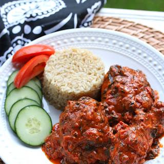 West African Plasas (Chicken in Peanut, Spinach & Tomato Sauce).
