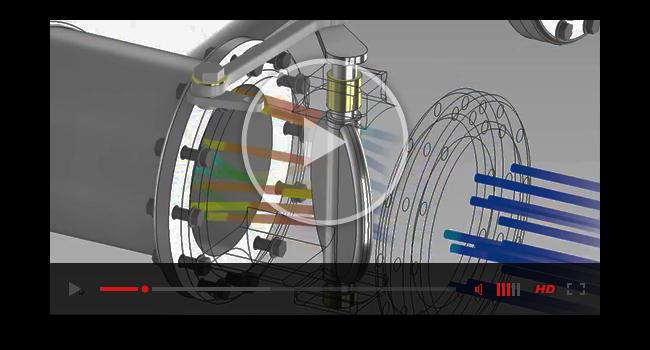 Модель поворотной задвижки, переданная в ANSYS Fluent после подготовки и разбиения сетки в рамках расчётной среды ANSYS AIM