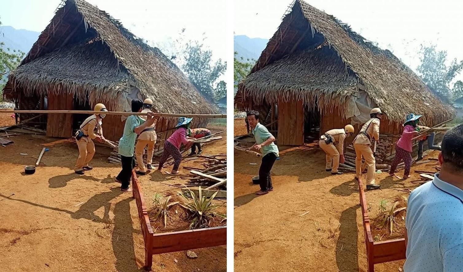 CSGT Quế Phong cùng bà con nhân dân tham gia chữa cháy và di dời tài sản.