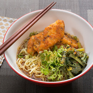 Crispy Catfish Shoyu Ramen with Yu Choy & Fresh Ramen Noodles.