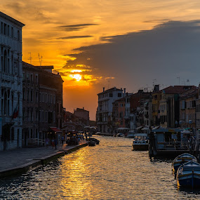 Venice Sunset by Luke Albright - City,  Street & Park  Night ( sky, sunset, night, buildings, cityscape, sun, water,  )