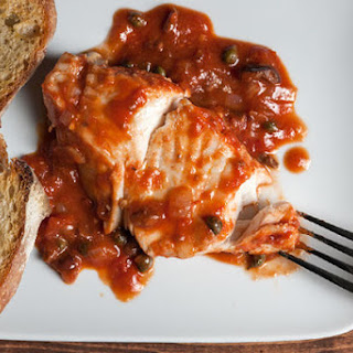 Baked Halibut Puttanesca with Crostini