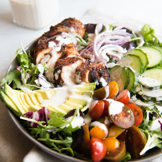 Grilled Cajun Chicken Salad with Creamy Cajun Dressing.