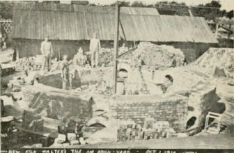 Photo: Men building a kiln at the Walter's Tile Factory - 1910