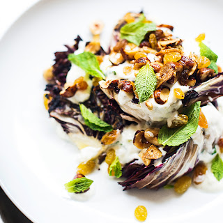 Grilled Radicchio Salad with Yogurt and Hazelnuts.