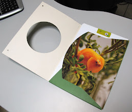 Photo: Pasta com elástico para papeis com abertura na capa para revelar parte da segunda capa.
