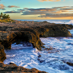 Paradise Island by Rachelle Crockett - Landscapes Waterscapes ( rocky, sunset, waves, formations, ocean, pretty, hawaii )