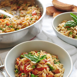 Orzo with Bacon and Summer Vegetables.