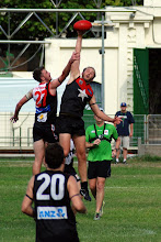 Photo: Lurch and Harvey in the ruck. Photo, Trent Mears and Ross McRae.